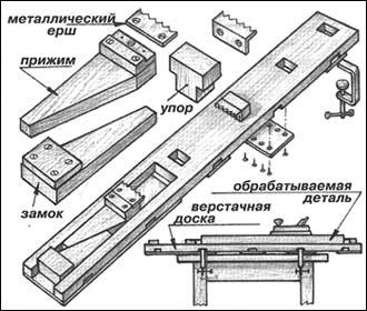 Опубликовано.  Рис. 1 Схема изготовления и сборки верстака из обычной доски.