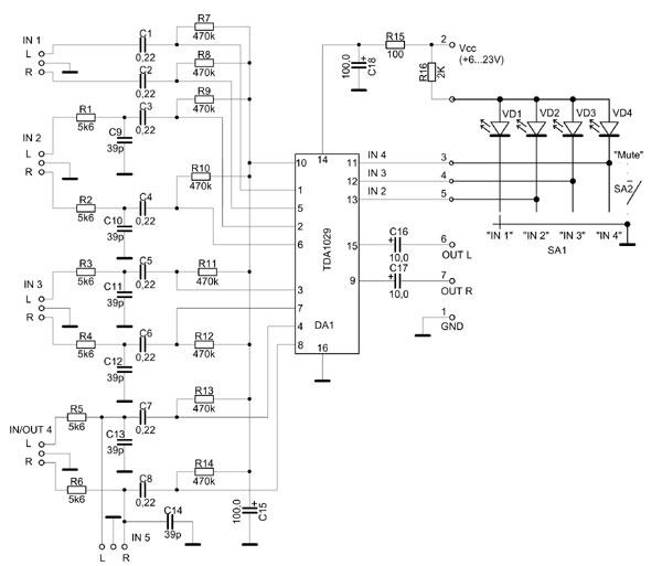 Схема электронного коммутатора входов.  Электронный коммутатор сигналов для радиолюбительского умзч.