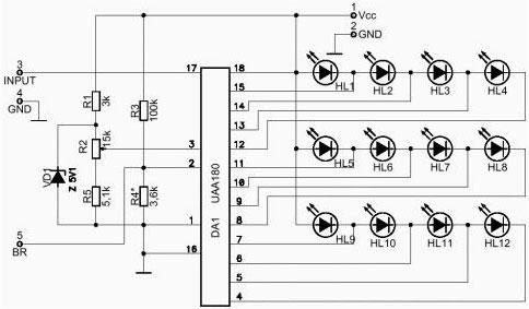 Логарифмический индикатор уровня для усилителя мощности звуковой частоты.