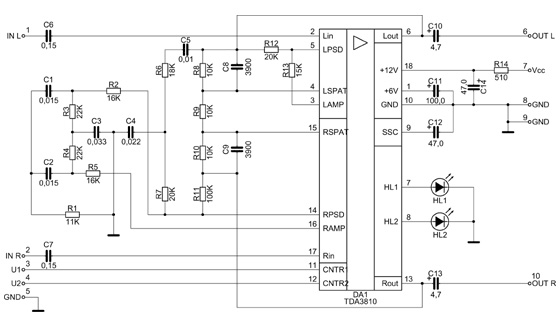 Схема принципиальная процессора пространственного звучания.  NM2114.