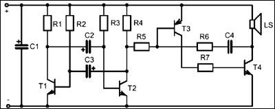 Таким образом, звуковой генератор работает в импульсном режиме.  Длительность...  Рисунок 3. Принципиальная схема...