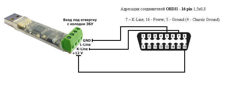 подключение адаптера k-l линии к разъёму OBDII