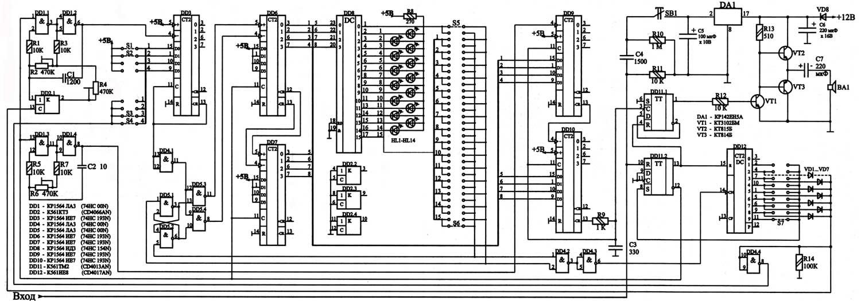 """Приводится схема синтезатора звуковых эффектов быстрой милицейской и медленной  """"завывающей """" пожарной сирены."""