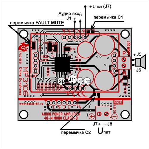 Акустическую систему необходимо подключить к винтовому разъему...  Источник аудиосигнала подключается к разъему в...