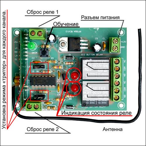 Подключите приемник согласно Рис. 2. Подключите источник питания постоянного напряжения +12В.  Внимание.